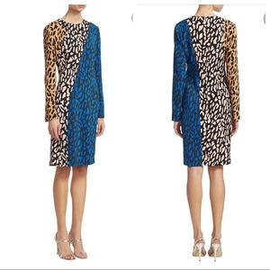 DVF Silk Blend Colorblock Leopard Print Dress Sz 6